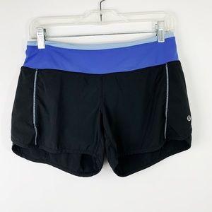 Lululemon Speed Short Black and Purple Blue Size 4